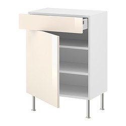 "AKURUM base cabinet w shelf/drawer/door, Abstrakt cream, white Width: 14 7/8 "" Depth: 12 1/4 "" Width: 38 cm Depth: 31 cm"