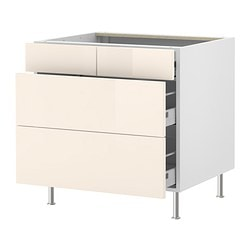 "AKURUM base cabinet with 2+2 drawers, Abstrakt cream, birch Width: 35 7/8 "" Depth: 24 7/8 "" Height: 30 3/8 "" Width: 91 cm Depth: 63 cm Height: 77 cm"