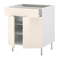 "AKURUM base cab/shelf/2 drawers/2 doors, Abstrakt cream, white Width: 29 7/8 "" Depth: 24 3/4 "" Height: 30 3/8 "" Width: 76 cm Depth: 62.8 cm Height: 77.1 cm"