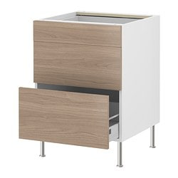 AKURUM base cabinet with 3 drawers, Sofielund light gray, birch