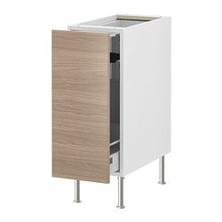 "AKURUM base cabinet with pull-out storage, Sofielund light gray, white Width: 15 "" Depth: 24 "" Height: 34 5/8 "" Width: 38 cm Depth: 61 cm Height: 88 cm"