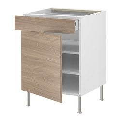 "AKURUM base cabinet w shelf/drawer/door, Sofielund light gray, white Width: 23 7/8 "" Depth: 24 3/4 "" Height: 30 3/8 "" Width: 60.8 cm Depth: 62.8 cm Height: 77.1 cm"