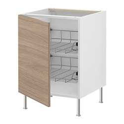 "AKURUM base cabinet with wire baskets, Sofielund light gray, birch Width: 23 7/8 "" Depth: 24 1/8 "" Height: 30 3/8 "" Width: 60.8 cm Depth: 61 cm Height: 77 cm"