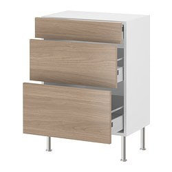 "AKURUM base cabinet with 3 drawers, Sofielund light gray, birch Depth: 12 3/8 "" Depth: 31.5 cm"