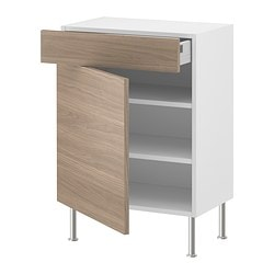 AKURUM base cabinet w shelf/drawer/door, Sofielund light gray, birch