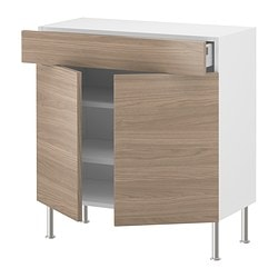 AKURUM base cabinet/shelves/drawer/2 doors, Sofielund light gray, birch