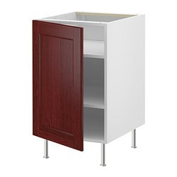 "AKURUM base cabinet with shelves, Ramsjö red-brown, white Width: 14 7/8 "" Depth: 24 1/8 "" Height: 30 3/8 "" Width: 37.9 cm Depth: 61.2 cm Height: 77.1 cm"