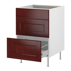 "AKURUM base cabinet with 3 drawers, Ramsjö red-brown, white Width: 18 "" Depth: 24 7/8 "" Height: 30 3/8 "" Width: 46 cm Depth: 63 cm Height: 77.1 cm"