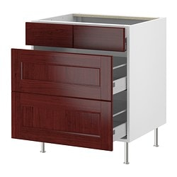 "AKURUM base cabinet with 2+2 drawers, Ramsjö red-brown, white Width: 29 7/8 "" Depth: 24 7/8 "" Height: 30 3/8 "" Width: 76 cm Depth: 63 cm Height: 77 cm"