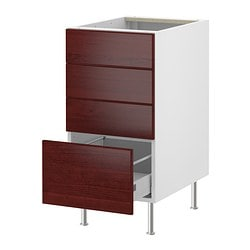 "AKURUM base cabinet with 4 drawers, Ramsjö red-brown, white Width: 14 7/8 "" Depth: 24 7/8 "" Height: 30 3/8 "" Width: 38 cm Depth: 63 cm Height: 77 cm"
