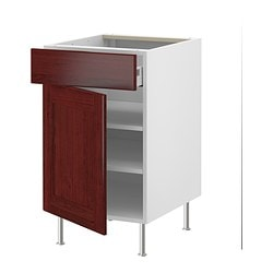 "AKURUM base cabinet w shelf/drawer/door, Ramsjö red-brown, white Width: 23 7/8 "" Depth: 24 3/4 "" Height: 30 3/8 "" Width: 60.8 cm Depth: 62.8 cm Height: 77.1 cm"