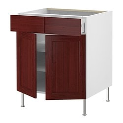 "AKURUM base cab/shelf/2 drawers/2 doors, Ramsjö red-brown, white Width: 29 7/8 "" Depth: 24 3/4 "" Height: 30 3/8 "" Width: 76 cm Depth: 62.8 cm Height: 77.1 cm"