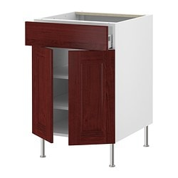 "AKURUM base cabinet/shelves/drawer/2 doors, Ramsjö red-brown, white Width: 23 7/8 "" Depth: 24 3/4 "" Height: 30 3/8 "" Width: 60.8 cm Depth: 62.8 cm Height: 77.1 cm"