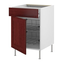"AKURUM base cab w wire basket/drawer/door, Ramsjö red-brown, white Width: 14 7/8 "" Depth: 24 3/4 "" Height: 30 3/8 "" Width: 38 cm Depth: 62.8 cm Height: 77 cm"