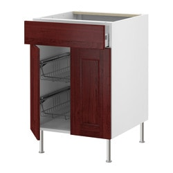 "AKURUM base cb w wire basket/drawer/2 door, Ramsjö red-brown, white Width: 23 7/8 "" Depth: 24 3/4 "" Height: 30 3/8 "" Width: 60.8 cm Depth: 62.8 cm Height: 77.1 cm"