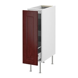 "AKURUM base cabinet with pull-out storage, Ramsjö red-brown, white Width: 11 3/4 "" Depth: 24 "" Height: 34 5/8 "" Width: 30 cm Depth: 61 cm Height: 88 cm"