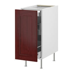 "AKURUM base cabinet with pull-out storage, Ramsjö red-brown, white Width: 15 "" Depth: 24 "" Height: 34 5/8 "" Width: 38 cm Depth: 61 cm Height: 88 cm"