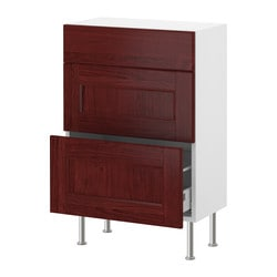 "AKURUM base cabinet with 3 drawers, Ramsjö red-brown, birch Width: 14 3/4 "" Depth: 12 1/4 "" Height: 30 3/8 "" Width: 38 cm Depth: 31 cm Height: 77 cm"
