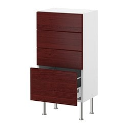 "AKURUM base cabinet with 4 drawers, Ramsjö red-brown, white Width: 17 7/8 "" Depth: 12 1/4 "" Height: 30 3/8 "" Width: 46 cm Depth: 31 cm Height: 77 cm"