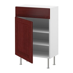 AKURUM base cabinet w shelf/drawer/door, Ramsjö red-brown, white