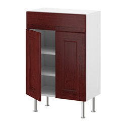AKURUM base cabinet/shelves/drawer/2 doors, Ramsjö red-brown, white