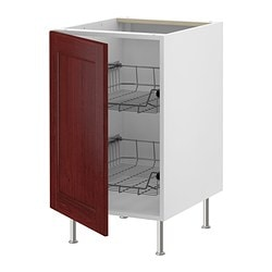 "AKURUM base cabinet with wire baskets, Ramsjö red-brown, white Width: 23 7/8 "" Depth: 24 1/8 "" Height: 30 3/8 "" Width: 60.8 cm Depth: 61 cm Height: 77 cm"