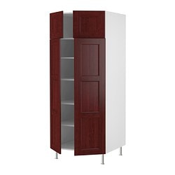 "AKURUM high cabinet with shelves/4 doors, Ramsjö red-brown, white Frame, width: 30 "" Depth: 24 1/8 "" Frame, height: 80 "" Frame, width: 76.2 cm Depth: 61.2 cm Frame, height: 203.2 cm"