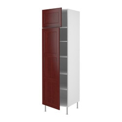 "AKURUM high cabinet with shelves/2 doors, Ramsjö red-brown, white Frame, width: 24 "" Depth: 24 1/8 "" Frame, height: 80 "" Frame, width: 61 cm Depth: 61.2 cm Frame, height: 203.2 cm"