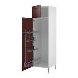 "AKURUM high cab/pull-out interior fittings, Ramsjö red-brown, white Width: 23 7/8 "" Depth: 24 1/8 "" Frame, height: 80 "" Width: 60.8 cm Depth: 61.2 cm Frame, height: 203.2 cm"