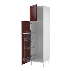 "AKURUM high cab/pull-out interior fittings, Ramsjö red-brown, white Width: 23 7/8 "" Depth: 24 1/8 "" Height: 88 1/4 "" Width: 60.8 cm Depth: 61.2 cm Height: 224.3 cm"