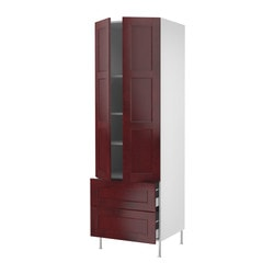 "AKURUM high cabinet w shelves/2 drawers, Ramsjö red-brown, white Frame, width: 30 "" Depth: 24 1/8 "" Frame, height: 88 "" Frame, width: 76.2 cm Depth: 61.2 cm Frame, height: 223.5 cm"