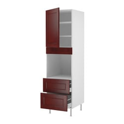 "AKURUM high cabinet f oven+door/2 drawers, Ramsjö red-brown, white Width: 23 7/8 "" Depth: 24 "" Height: 80 "" Width: 60.8 cm Depth: 61.0 cm Height: 203.2 cm"