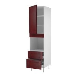 "AKURUM high cabinet f oven+door/2 drawers, Ramsjö red-brown, white Width: 23 7/8 "" Depth: 24 "" Height: 88 1/4 "" Width: 60.8 cm Depth: 61.0 cm Height: 224.3 cm"