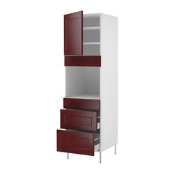 "AKURUM high cab f oven w door/3 drawers, Ramsjö red-brown, birch Width: 23 7/8 "" Depth: 24 "" Height: 80 "" Width: 60.8 cm Depth: 61.0 cm Height: 203.2 cm"