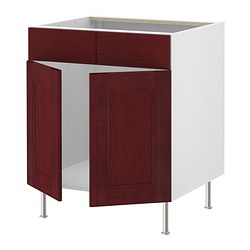 "AKURUM base cb f sink w 2 drs/2 fascia pan, Ramsjö red-brown, birch Width: 35 7/8 "" Width: 91.2 cm"