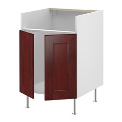 "AKURUM base cab f DOMSJÖ single bowl sink, Ramsjö red-brown, white Width: 23 7/8 "" Depth: 24 3/4 "" Height: 30 3/8 "" Width: 61 cm Depth: 63 cm Height: 77 cm"