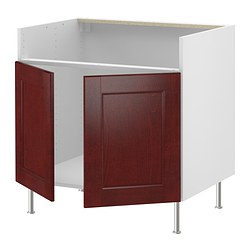 "AKURUM base cab for DOMSJÖ 2 bowl sink, Ramsjö red-brown, white Width: 35 7/8 "" Depth: 24 1/8 "" Height: 30 3/8 "" Width: 91 cm Depth: 61 cm Height: 77 cm"