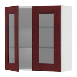"AKURUM wall cabinet with 2 glass doors, Ramsjö red-brown, birch Width: 29 7/8 "" Depth: 13 1/8 "" Height: 30 3/8 "" Width: 76 cm Depth: 33 cm Height: 77 cm"