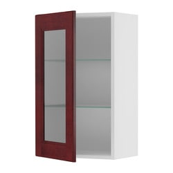 "AKURUM wall cabinet with glass door, Ramsjö red-brown, white Width: 14 7/8 "" Depth: 13 1/8 "" Height: 30 3/8 "" Width: 38 cm Depth: 33 cm Height: 77 cm"