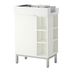 LILLÅNGEN washbasin cab 1 door/2 end units, white Width: 60 cm Depth: 41 cm Height: 92 cm