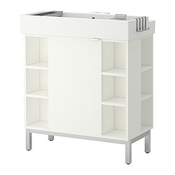 LILLÅNGEN washbasin cab 1 door/4 end unit, white Width: 80 cm Depth: 41 cm Height: 92 cm