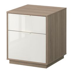 NYVOLL chest of 2 drawers, white, light grey Width: 45 cm Depth: 45 cm Height: 52 cm