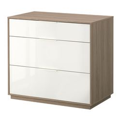 NYVOLL chest of 3 drawers, white, light grey Width: 90 cm Depth: 50 cm Height: 80 cm