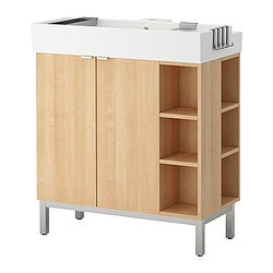 LILLÅNGEN washbasin cab 2 doors/2 end units, birch effect Width: 80 cm Depth: 41 cm Height: 92 cm