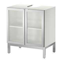 LILLÅNGEN washbasin base cabinet with 2 door, aluminium Width: 60 cm Depth: 38 cm Height: 66 cm
