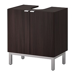 LILLÅNGEN washbasin base cabinet with 2 door, black-brown Width: 60 cm Depth: 38 cm Height: 66 cm