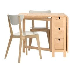 NORDEN/ NORDMYRA table and 2 chairs, white, birch