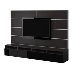 BESTÅ TV storage combination, black, black-brown Width: 240 cm Max. depth: 40 cm Height: 166 cm