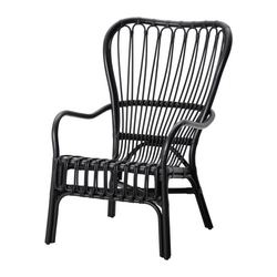 STORSELE high-back armchair, rattan, black Width: 69 cm Depth: 78 cm Height: 100 cm