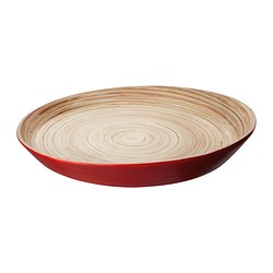 VINÄGER dish, red, bamboo Diameter: 33 cm Height: 4 cm